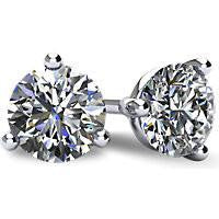 *Clearance* Cubic Zirconia Earrings- 3.0 Carat TGW 3 Prong Round CZ Stud Earring Set in 14K White Gold
