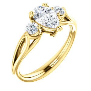 Cubic Zirconia Engagement Ring- The Libby Leigh (Customizable 3-stone Pear Cut Design with Flanking Round Accents and Wide Curve-Split Band)