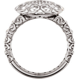 Cubic Zirconia Engagement Ring- The Denise (Sculpture-Inspired Filigreed Cluster Halo with Engraved Band)