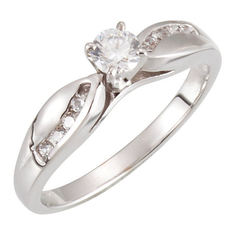 Cubic Zirconia Engagement Ring- The Shayla (Customizable 9-stone Ribbon Channel)