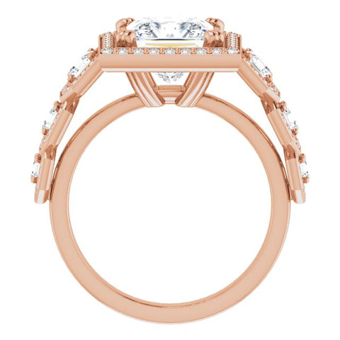 10K Rose Gold Customizable Cathedral-Halo Princess/Square Cut Design with Six Halo-surrounded Asscher Cut Accents and Ultra-wide Band