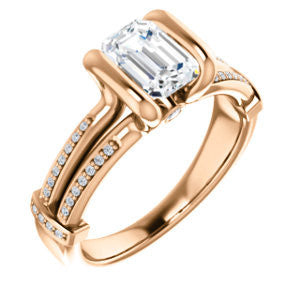 Cubic Zirconia Engagement Ring- The Kinsley (Customizable Radiant Cut with Split Pavé Band & Peekaboo Accents)