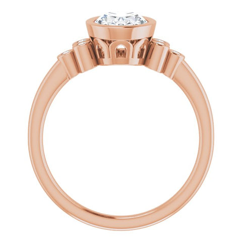 10K Rose Gold Customizable 7-stone Oval Cut Style with Triple Round-Bezel Accent Cluster Each Side