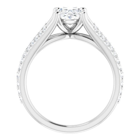 10K Rose Gold Customizable Cathedral-raised Oval Cut Center with Exquisite Accented Split-band
