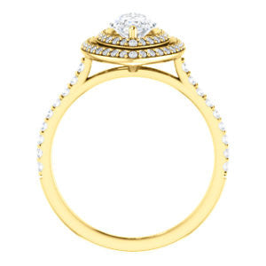 Cubic Zirconia Engagement Ring- The Alisa (Customizable Marquise Cut with Geometric Double Halo)