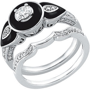 Cubic Zirconia Engagement Ring- The ________ Naming Rights 64-656 (0.50 Carat with Onyx and Filigree)