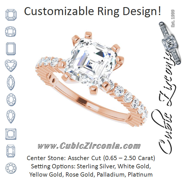 Cubic Zirconia Engagement Ring- The Thea (Customizable 8-prong Asscher Cut Design with Thin, Stackable Pavé Band)