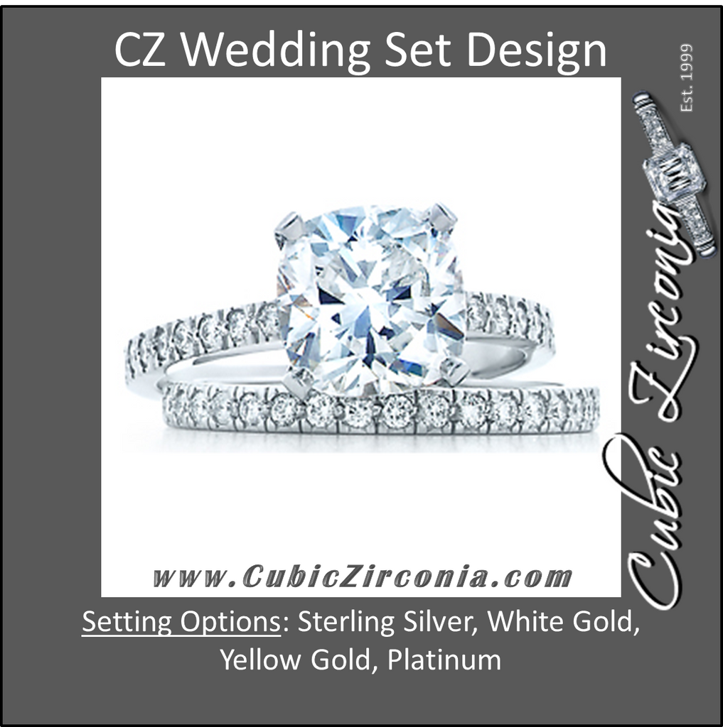 Cz Wedding Set, Style 1356 Feat The Tien Engagement Ring (2 Ct Cushion Cut