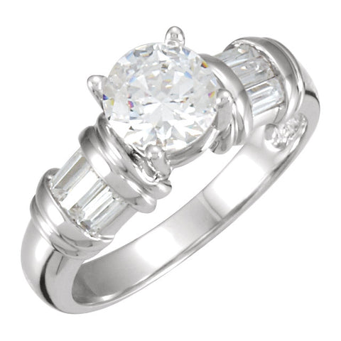 Cubic Zirconia Engagement Ring- 1.92 TCW 7-Stone Customizable Center and Baguette Accents