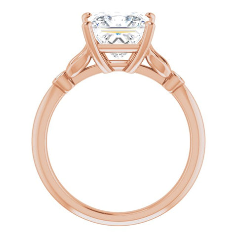10K Rose Gold Customizable 3-stone Princess/Square Cut Design with Thin Band and Twin Round Bezel Side Stones