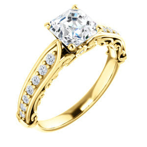 Cubic Zirconia Engagement Ring- The Martha (Customizable Asscher Cut Setting with Pavé Three-sided Band and Peekaboos)