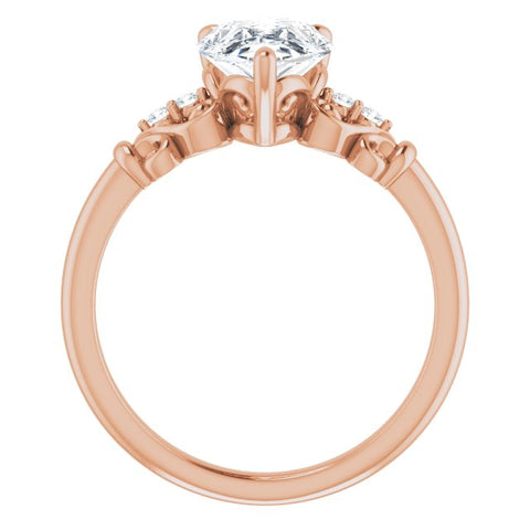 10K Rose Gold Customizable Vintage 5-stone Design with Pear Cut Center and Artistic Band Décor