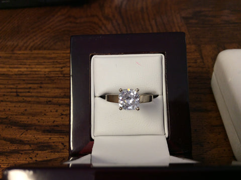 Cubic Zirconia Engagement Ring-*Clearance* The Sherri (2-Carat Cushion Cut Wide Band Cathedral Solitaire in Sterling Silver)