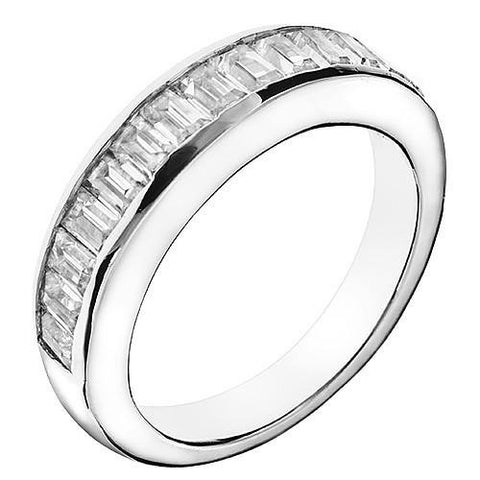 *Clearance* A Cubic Zirconia Anniversary Ring Band, Style 05-06 (1.50 TCW Baguette Channel in 10K White Gold)