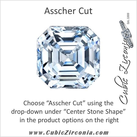 Cubic Zirconia Engagement Ring- The Ashleigh (Customizable with Triple Row Pavé)