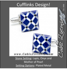Men's Cufflinks- Impactful Diamond-Pattern Lapis, Onyx and Mother of Pearl
