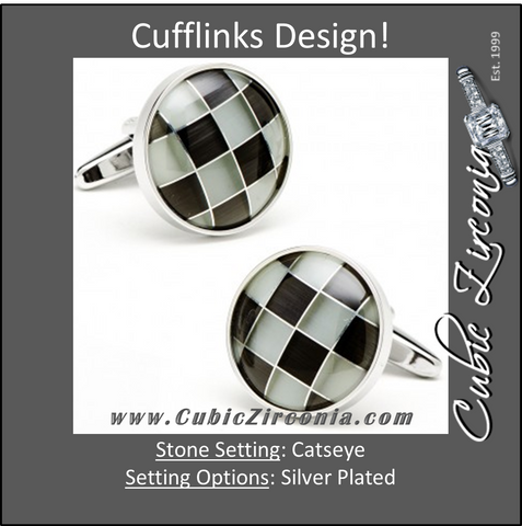Men's Cufflinks- Silver Plated Grey Catseye Checkered Design
