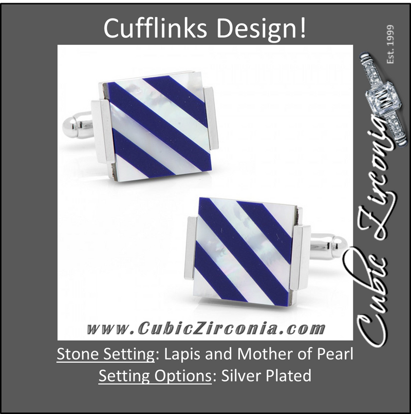 Men's Cufflinks- Floating Lapis and Mother of Pearl with Stripes