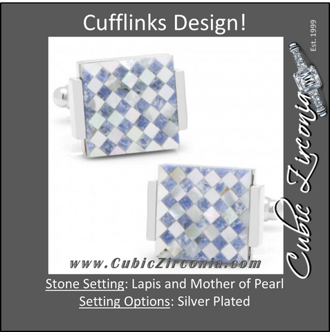 Men's Cufflinks- Floating Lapis and Mother of Pearl Checkered Design