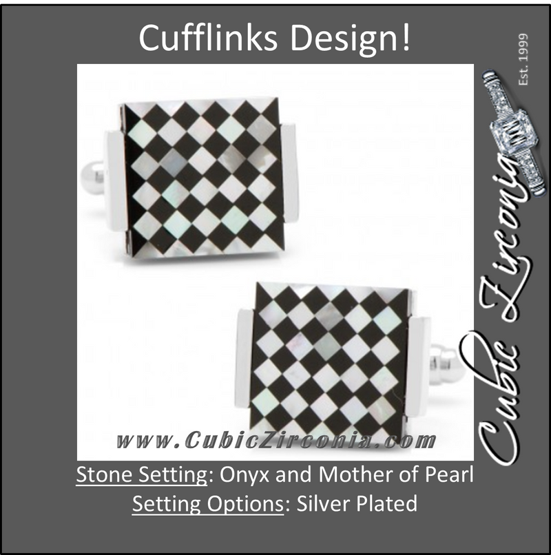 Men's Cufflinks- Floating Onyx and Mother of Pearl Checkered Design