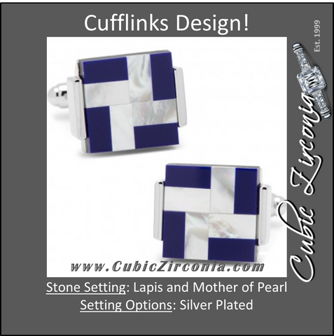 Men's Cufflinks- Mother of Pearl and Lapis Windmill Square