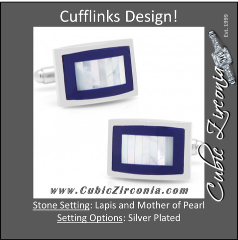 Men's Cufflinks- Blue Lapis Framed with Vertical Tiled Mother of Pearl
