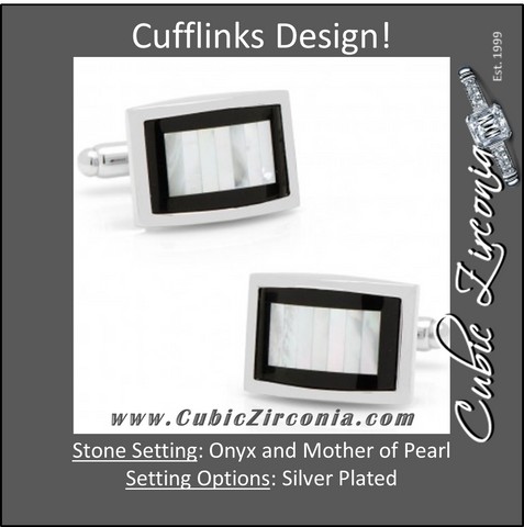 Men's Cufflinks- Onyx Framed with Vertical Tiled Mother of Pearl