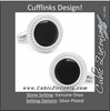 Men's Cufflinks- Genuine Black Onyx with Etched Circular Border