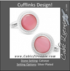 Men's Cufflinks- Pink Catseye with Etched Circular Border
