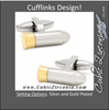 Men's Cufflinks- Silver and Gold Plated Bullet Designs