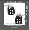Men's Cufflinks- Black Dice Design