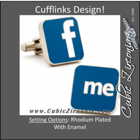 "Men's Cufflinks- Blue and White Enamel ""F Me"" Style"