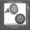 Men's Cufflinks- Gunmetal and Enamel Dart Boards