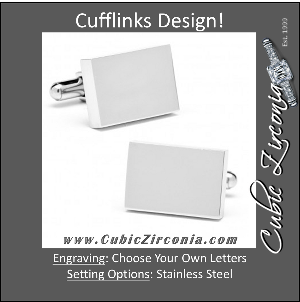 Men's Cufflinks- Stainless Steel Rectangle with Infinity Edges