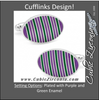 Men's Cufflinks- Purple and Green Oval Repp Stripe