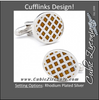 Men's Cufflinks- Amber Quilted Circles