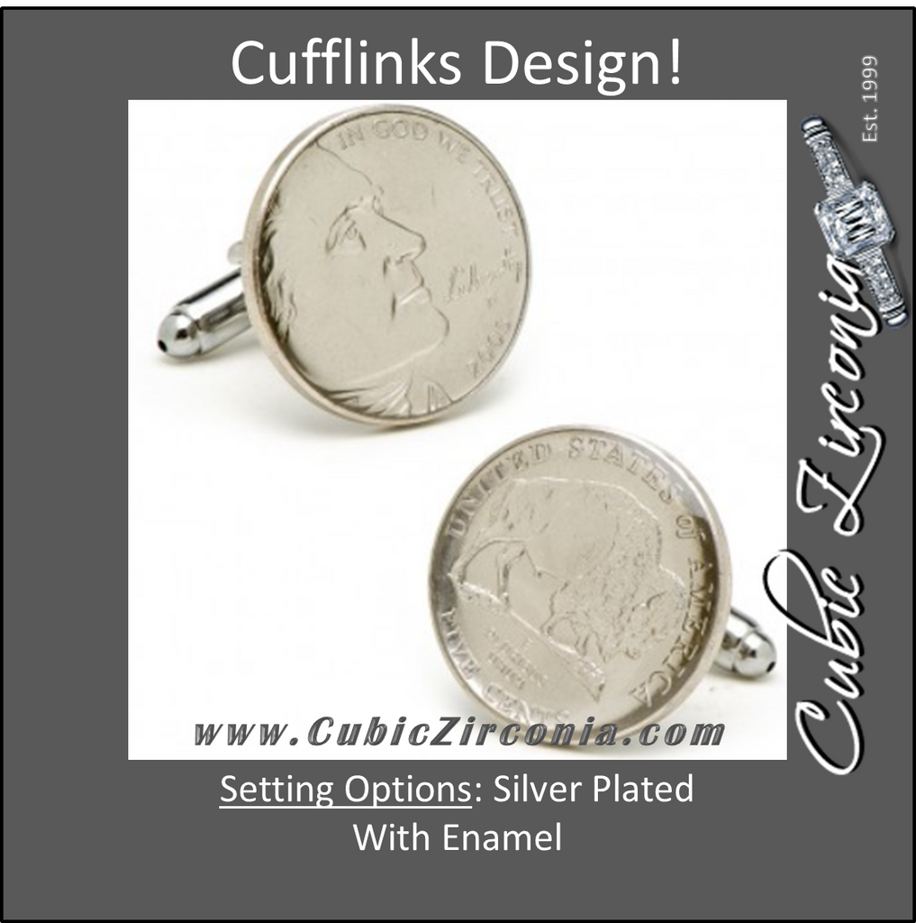 Men's Cufflinks- Silver Plated Authentic U.S. Buffalo Nickel Coin Jewelry