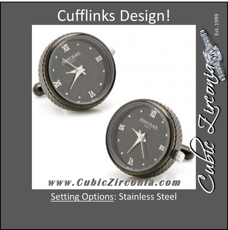Men's Cufflinks- Stainless Steel Functional Watch (Black)
