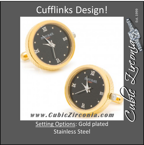 Men's Cufflinks- Stainless Steel Functional Watch (Yellow Gold Plating)
