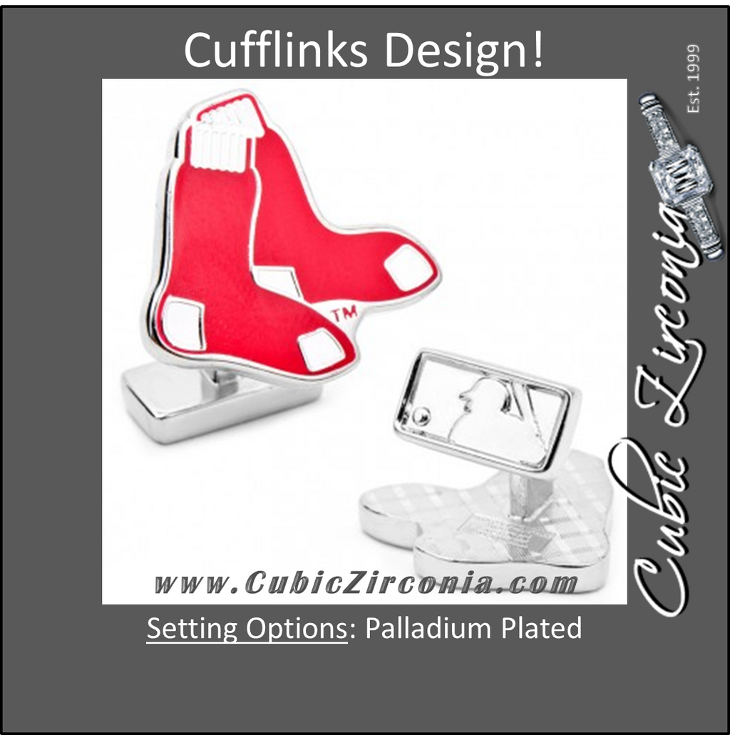 Men's Cufflinks- Palladium Edition Boston RedSox with Enamel Accents (Officially Licensed)