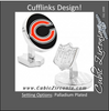 Men's Cufflinks- Palladium Edition Chicago Bears with Enamel Accents (Officially Licensed)