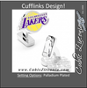 Men's Cufflinks- Palladium Edition LA Lakers with Enamel Accents (Officially Licensed)