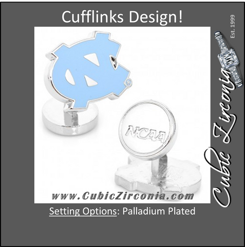 Men's Cufflinks- Palladium Edition University of North Carolina Tarheels with Enamel Accents (Officially Licensed)