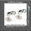 Men's Cufflinks- Palladium Edition Seattle Seahawks with Enamel Accents (Officially Licensed)