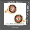 Men's Cufflinks- Armed Forces Gold Plated with Enamel (Marine Corps)