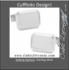 Men's Cufflinks- Sterling Silver Engravable Rectangles with Ridged Border