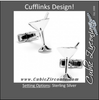 Men's Cufflinks- Sterling Silver Vintage Martini Glasses