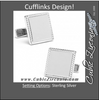 Men's Cufflinks- Sterling Silver Squares with Etched Border