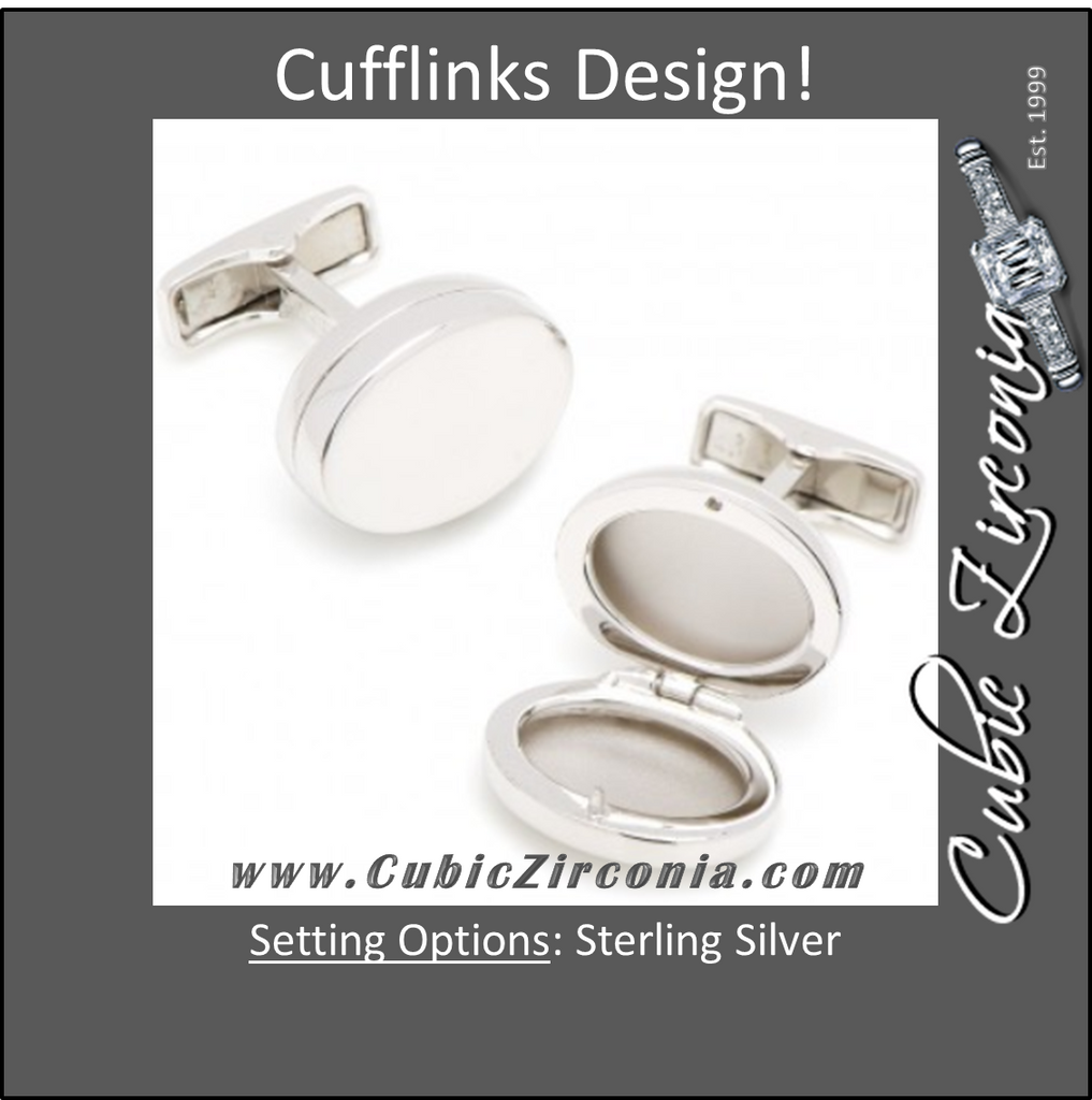 Men's Cufflinks- Engravable Locket (Holds Pictures)