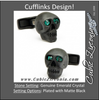 Men's Cufflinks- Matte Black Eye Skull (set with green emerald crystals for eyes)
